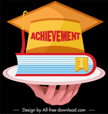 graduation achievement icon 3d hat book hand sketch