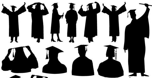 graduation figures silhouette design vector