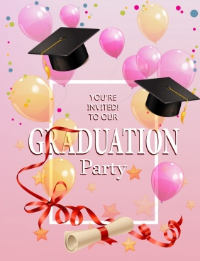 graduation party invitation template colorful balloon icons decor