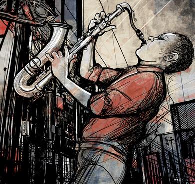 graffiti music backgrounds vector set