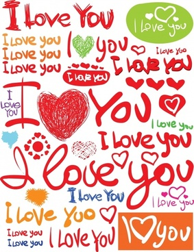 love message templates colorful calligraphic sketch