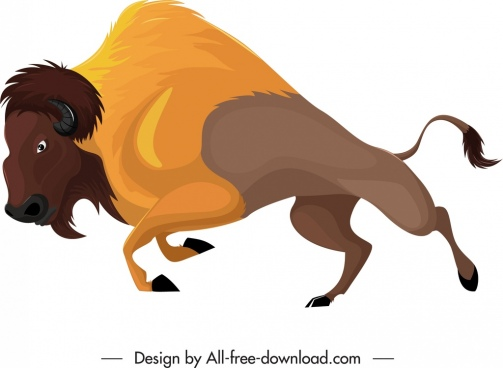 graminivore icon wild bull character sketch cartoon design