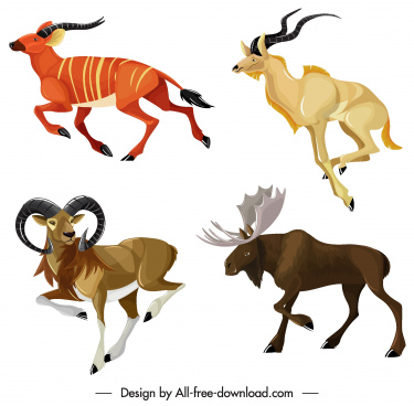 graminivorous animals icons antelopes reindeers sketch
