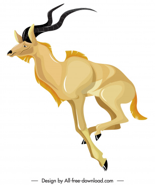 graminivorous antelope icon colored cartoon sketch