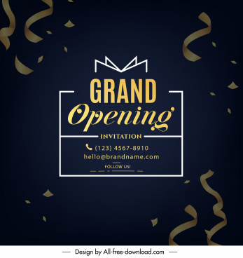 grand opening card template dark elegant confetti decor