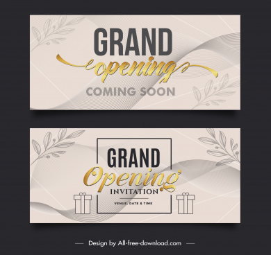 grand opening card templates elegant leaf presents sketch