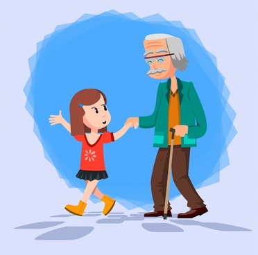 granddaughter and grandfather illustration with token of affection