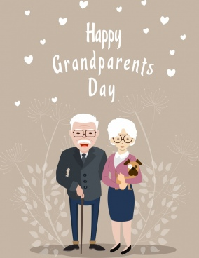 grandparents day banner old couple icon
