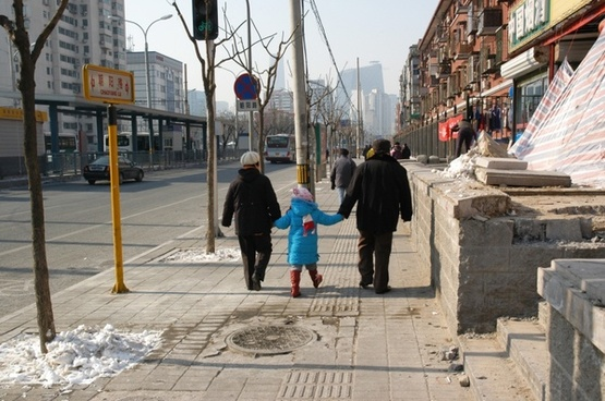 grandparents walking city