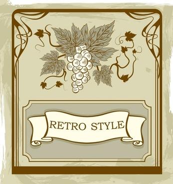 grape wine background handdrawn retro design