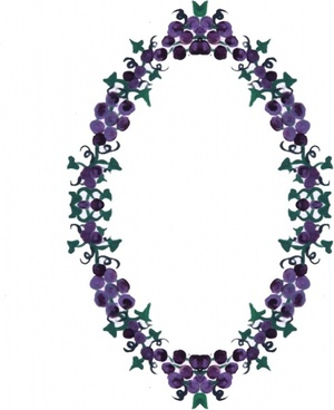 grapes ivy wreath frame