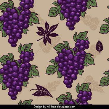 grapes pattern colored retro design