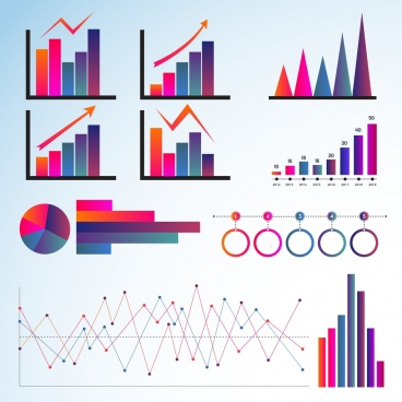 graph templates collection multicolored flat shapes
