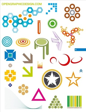 graphic design icons collection various colored symbol elements
