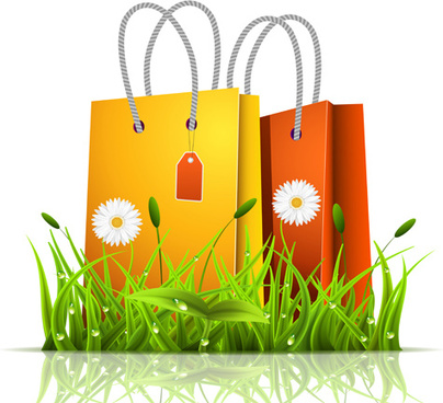 grass with bag spring background vector