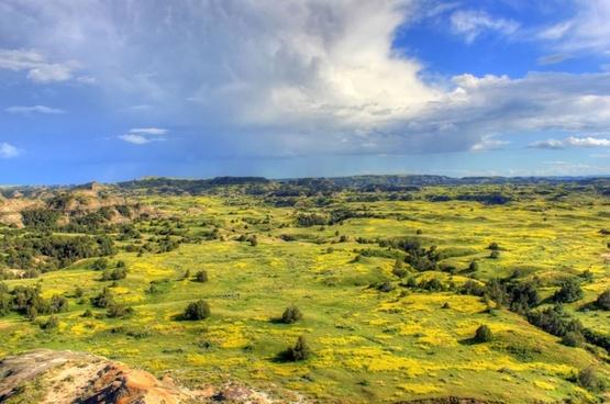 grasslands and prairie landscape at theodore roosevelt national park north dakota