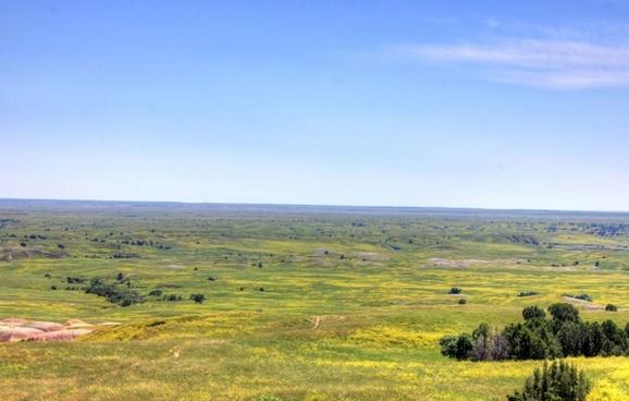 grasslands to the horizon at badlands national park south dakota