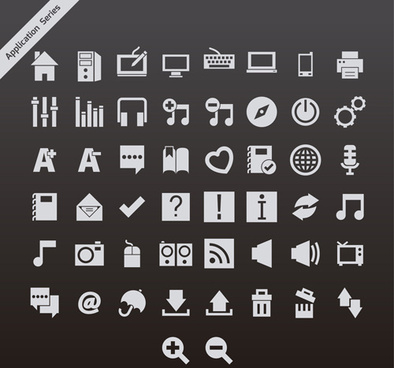 gray application series vector icons
