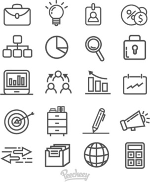 gray business icons on white background