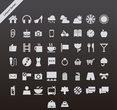 gray leisure series vector icons