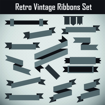 gray retor ribbon vector set