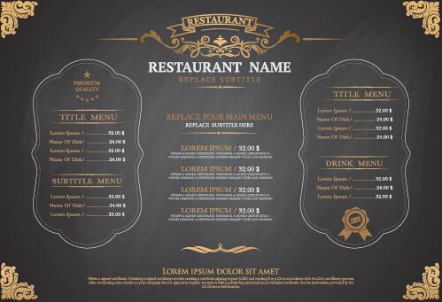 gray style restaurant menu design vector