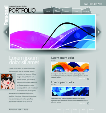 gray vector website templates design elements