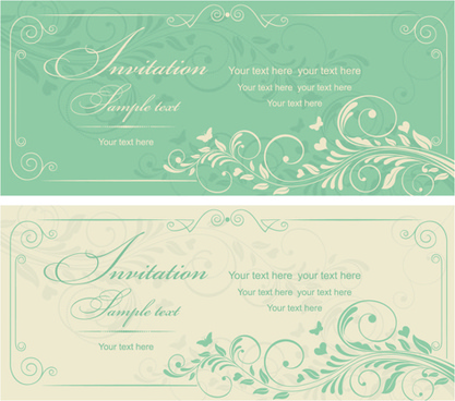 gray vintage style floral invitations cards vector