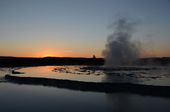 great fountain geyser yellowstone sunset
