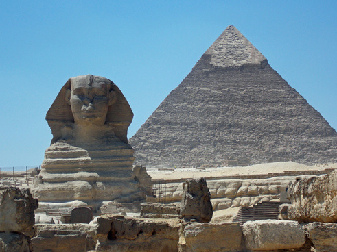 great pyramid at giza and sphinx