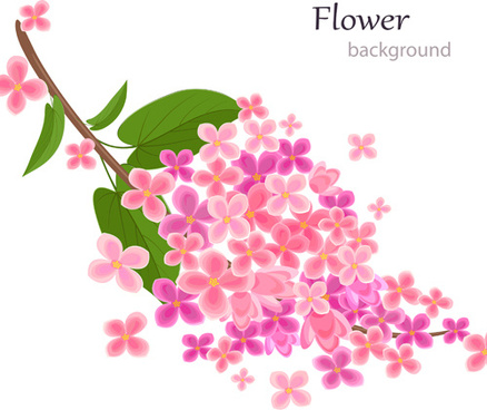 gree leaf with pink flower background vector