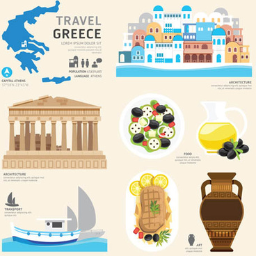 greece tourism elements vector