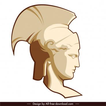 greek design element knight portrait statue sketch
