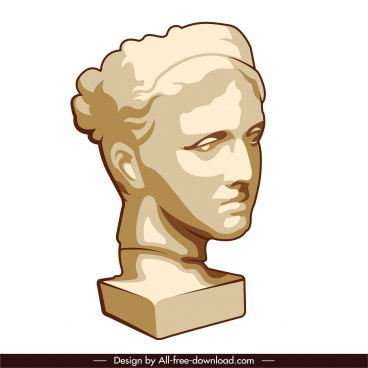 greek design element portrait statue sketch