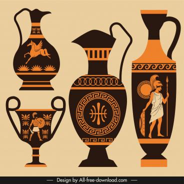 greek pottery icons elegant retro decor flat dark