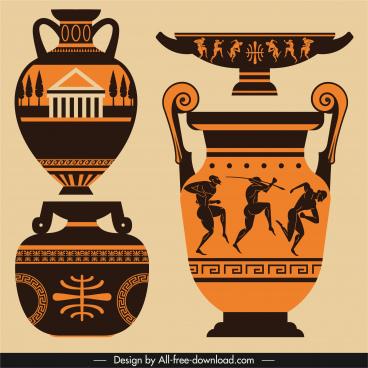 greek pottery icons flat retro symbols decor