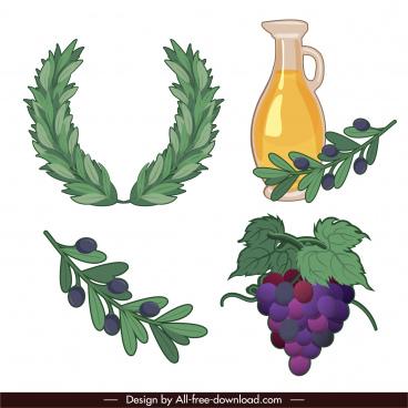 greek symbols icons wreath olive grapes sketch