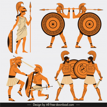 greek warrior icons classical cartoon character sketch