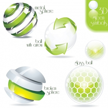logotype templates modern bright green 3d spheres decor