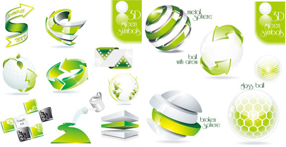 green 3d icon vector