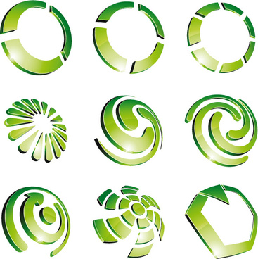 green 3d logo design vector