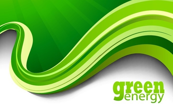 green abstract background 3d curved waving decoration