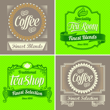 green and brown coffee labels vector