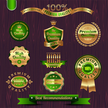 green and gold badge and seal collection