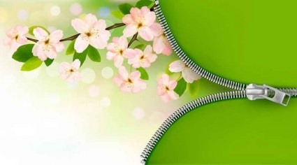 green background with pink flower vector