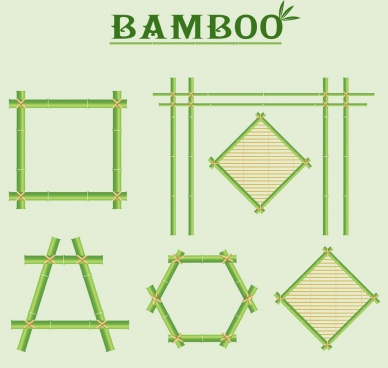 green bamboo design elements various shapes isolation
