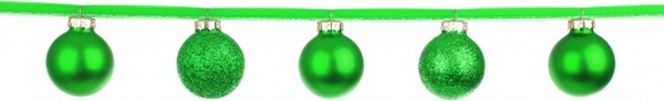 green baubles on a ribbon
