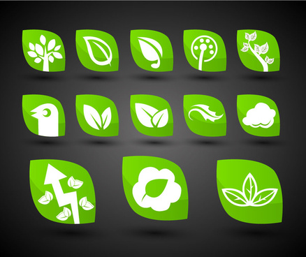 green bio icons collection with leaf shapes design