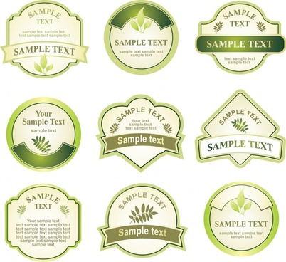 labels templates modern flat green shapes design