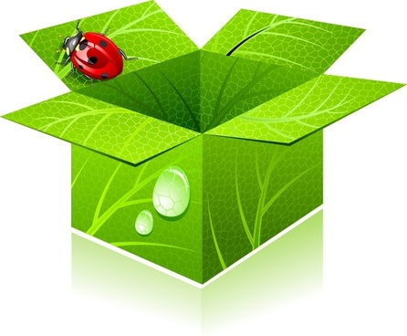 eco box icon 3d green leaf ladybug decor